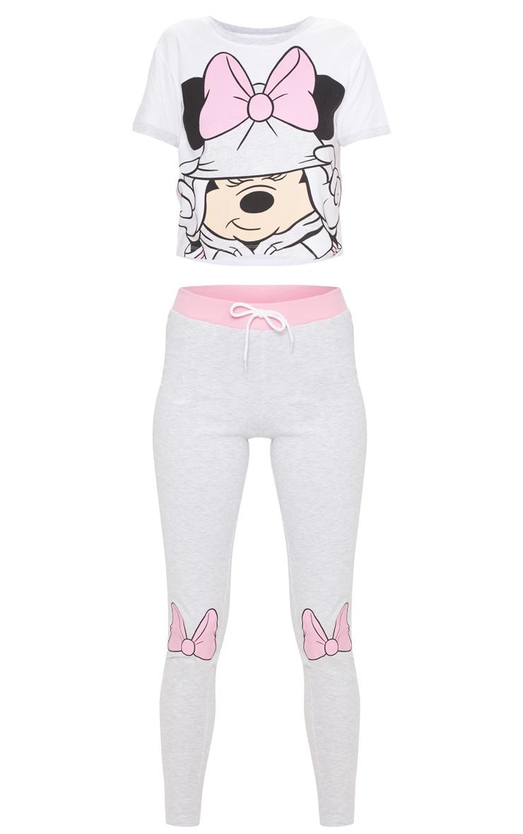Grey DISNEY Minnie Mouse Bow Detail Legging Pyjama Set 3