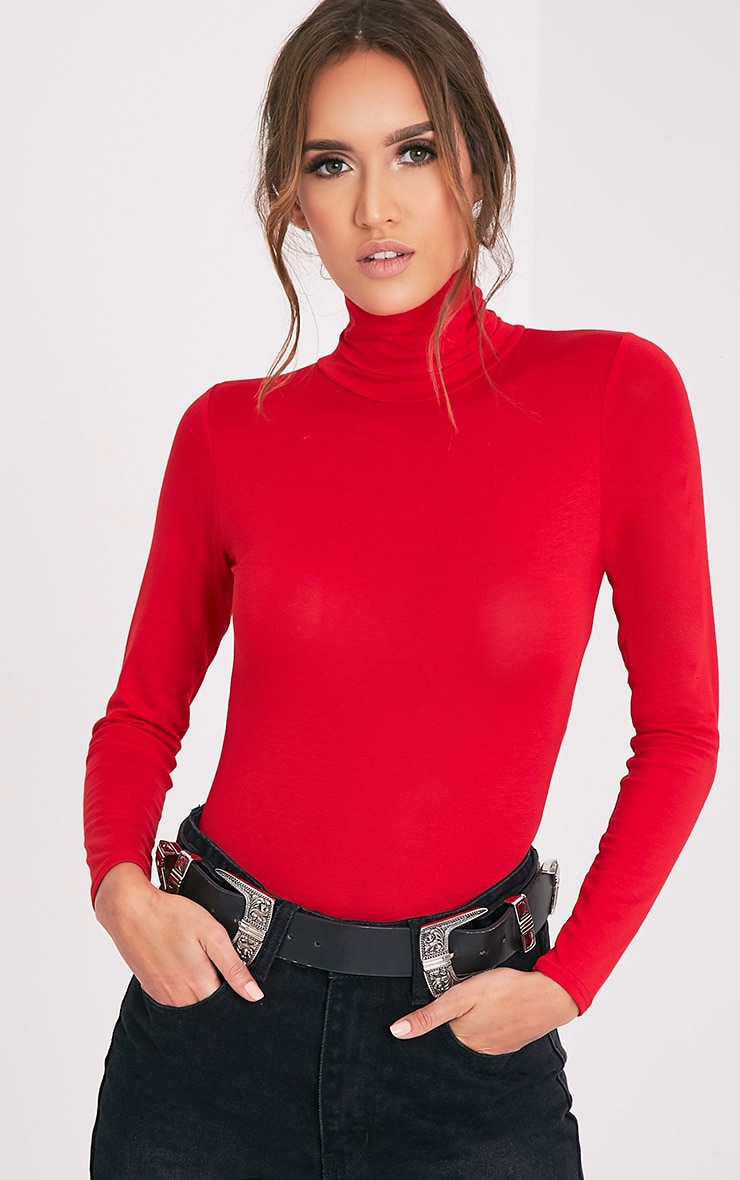 Basic Red Roll Neck Bodysuit 2