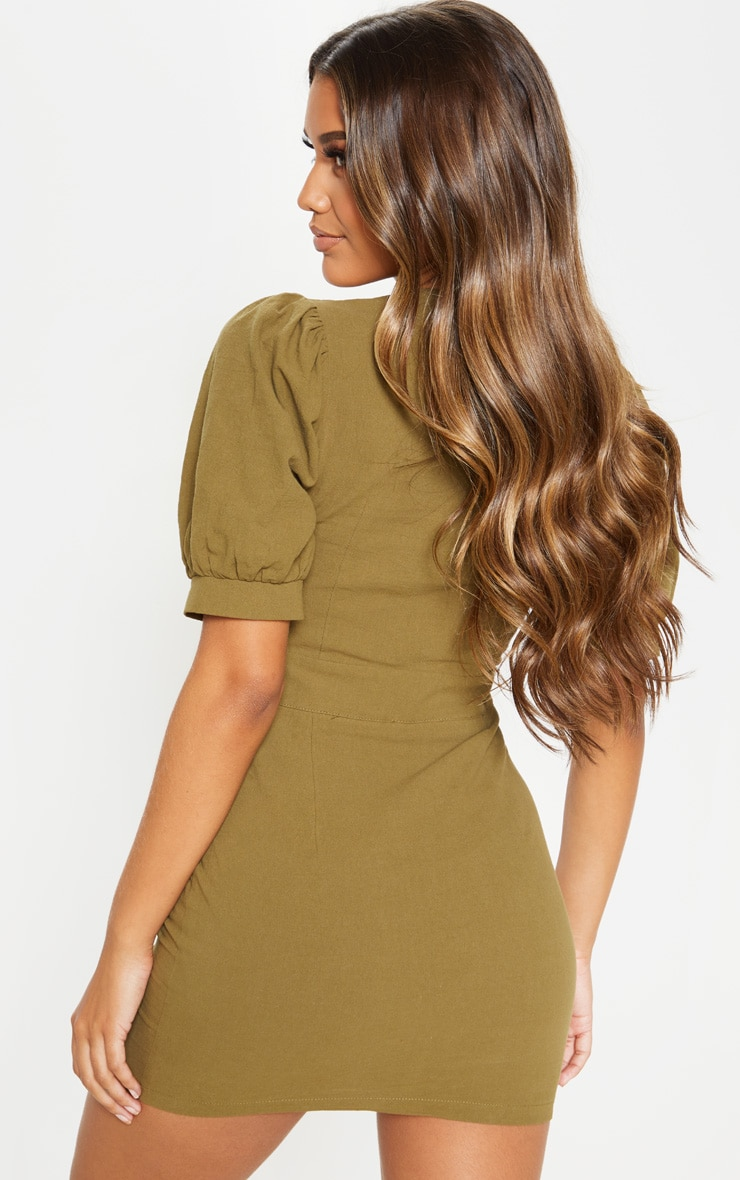Khaki Lace Up Pocket Front Utility Dress 2