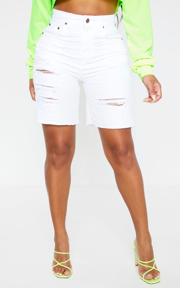 Shape White Distressed Longline Denim Shorts 2