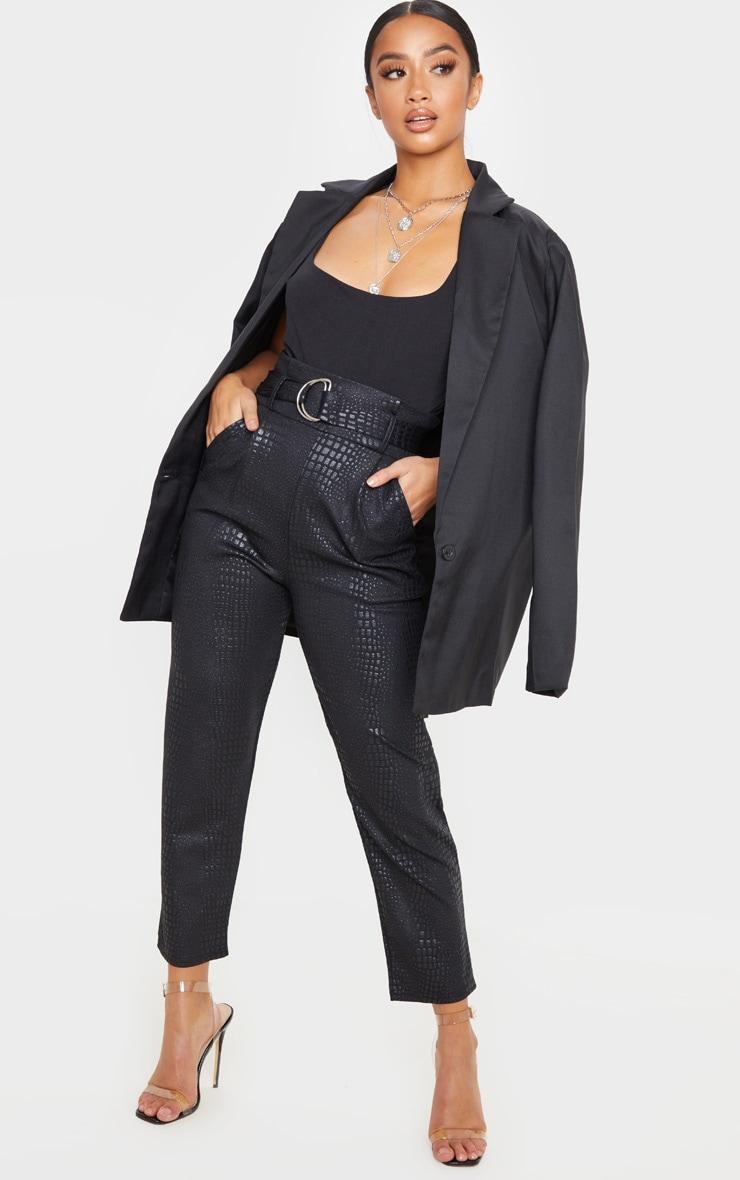 Petite Black Croc D Ring Belted Skinny Pants 1