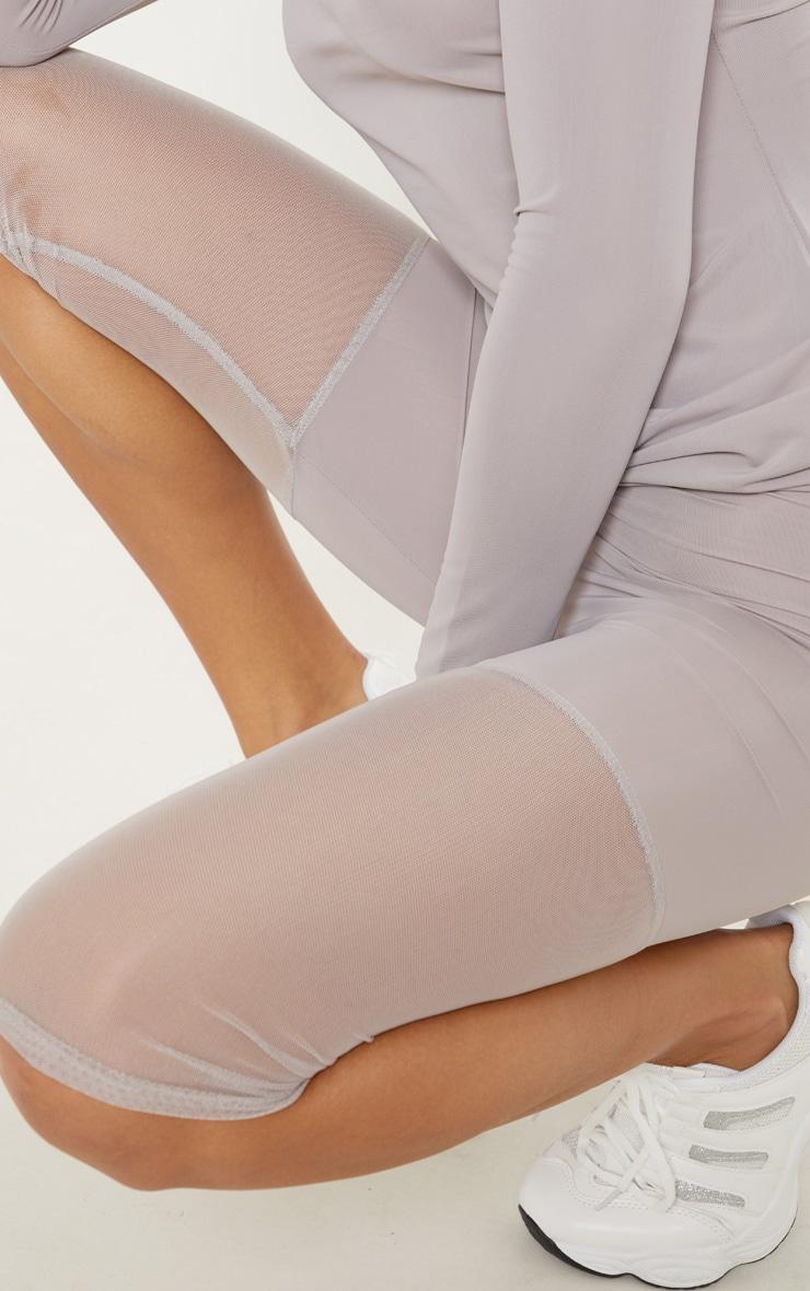Grey Basic Mesh Insert Gym Legging 5