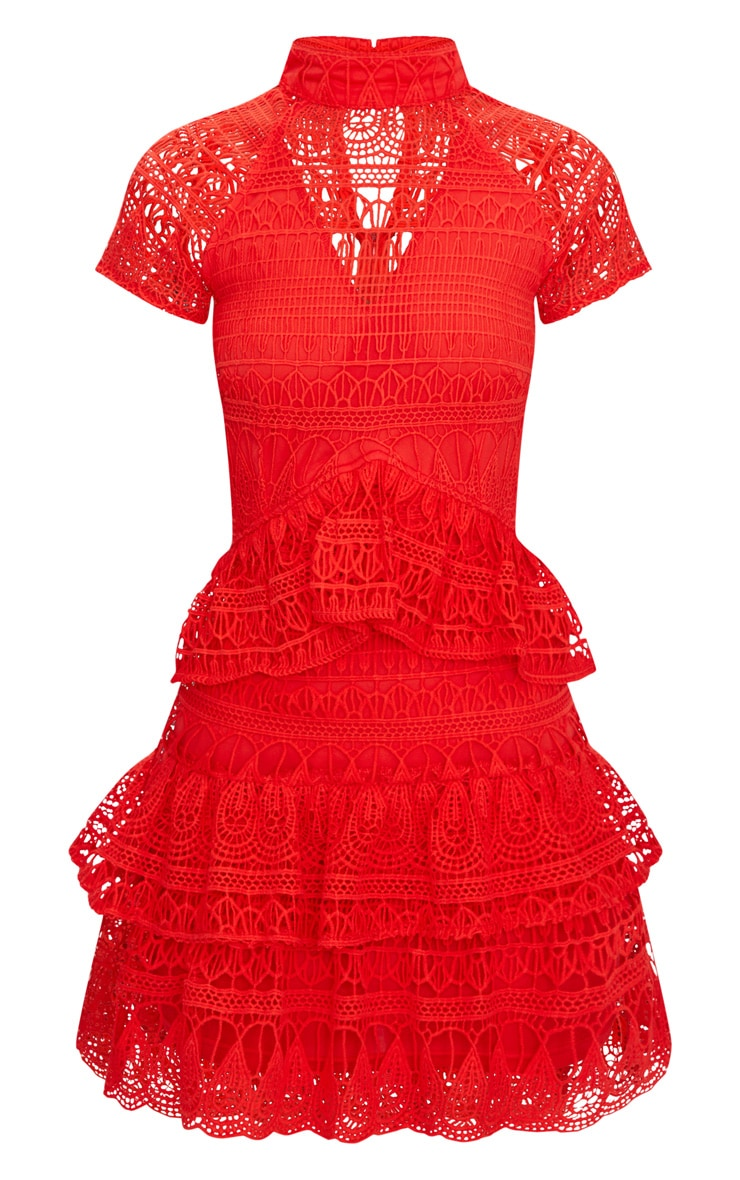 Red Crochet High Neck Frill Skater Dress 3