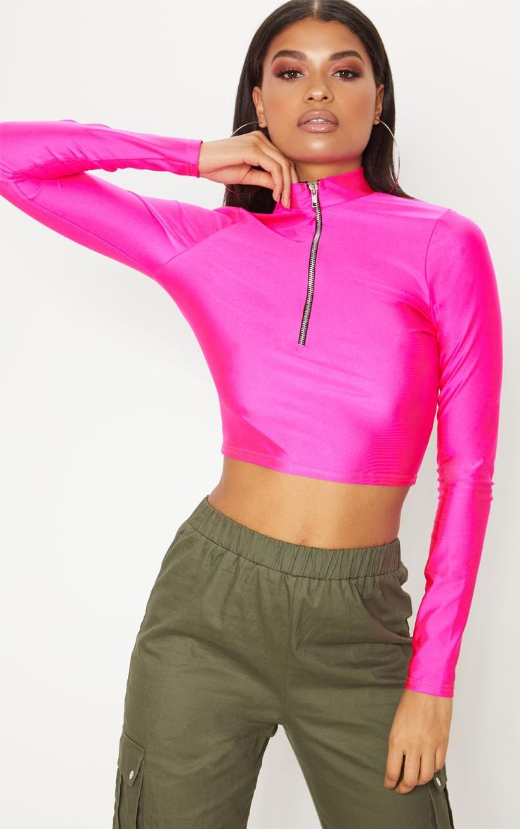 Hot Pink Disco Zip Front High Neck Long Sleeve Crop Top   2