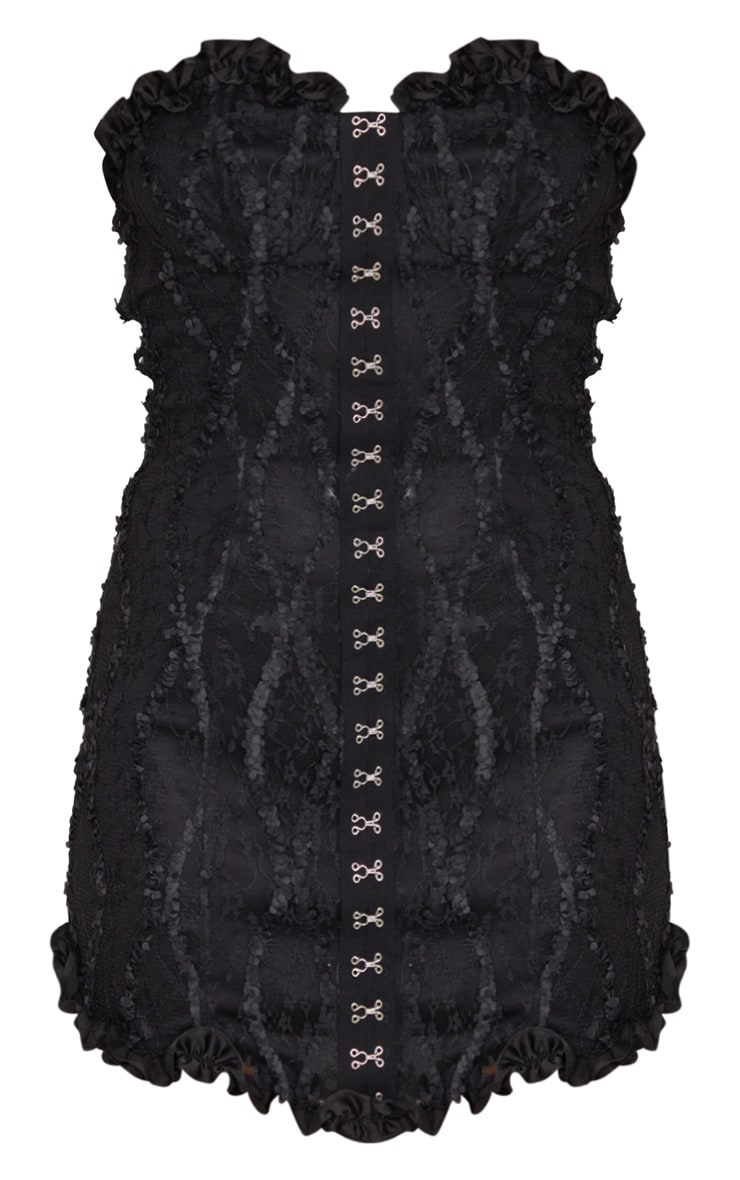 Black Hook & Eye Lace Embroidered Bandeau Bodycon Dress 5