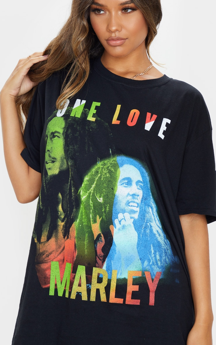 Black One Love Bob Marley Print T Shirt 5