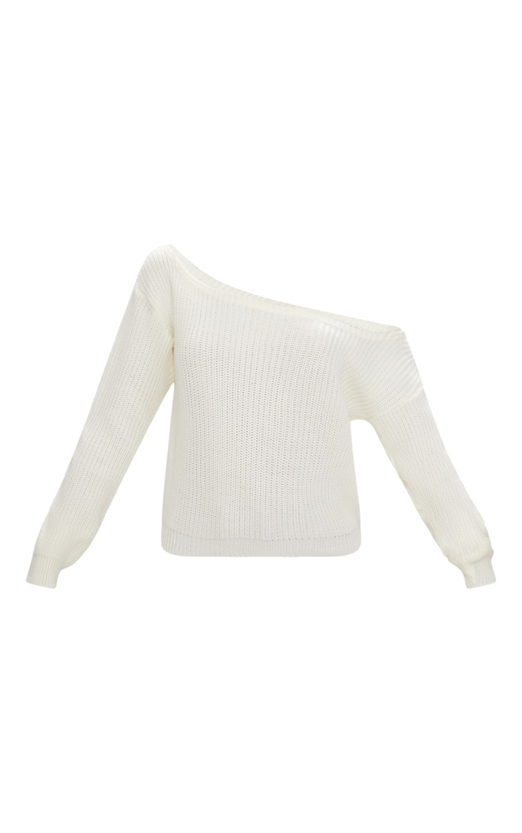 Cream Off The Shoulder Crop Sweater 3