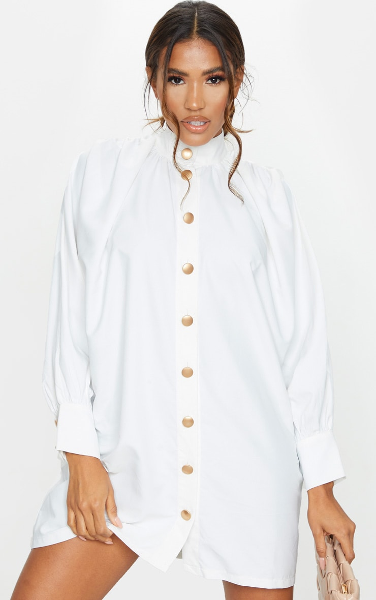White Gold Button Detail Shirt Dress 3
