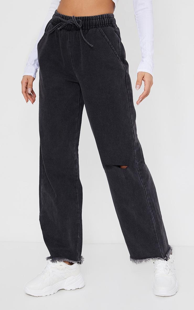 Washed Black Elasticated Waist Baggy Wide Leg Boyfriend Jeans 2