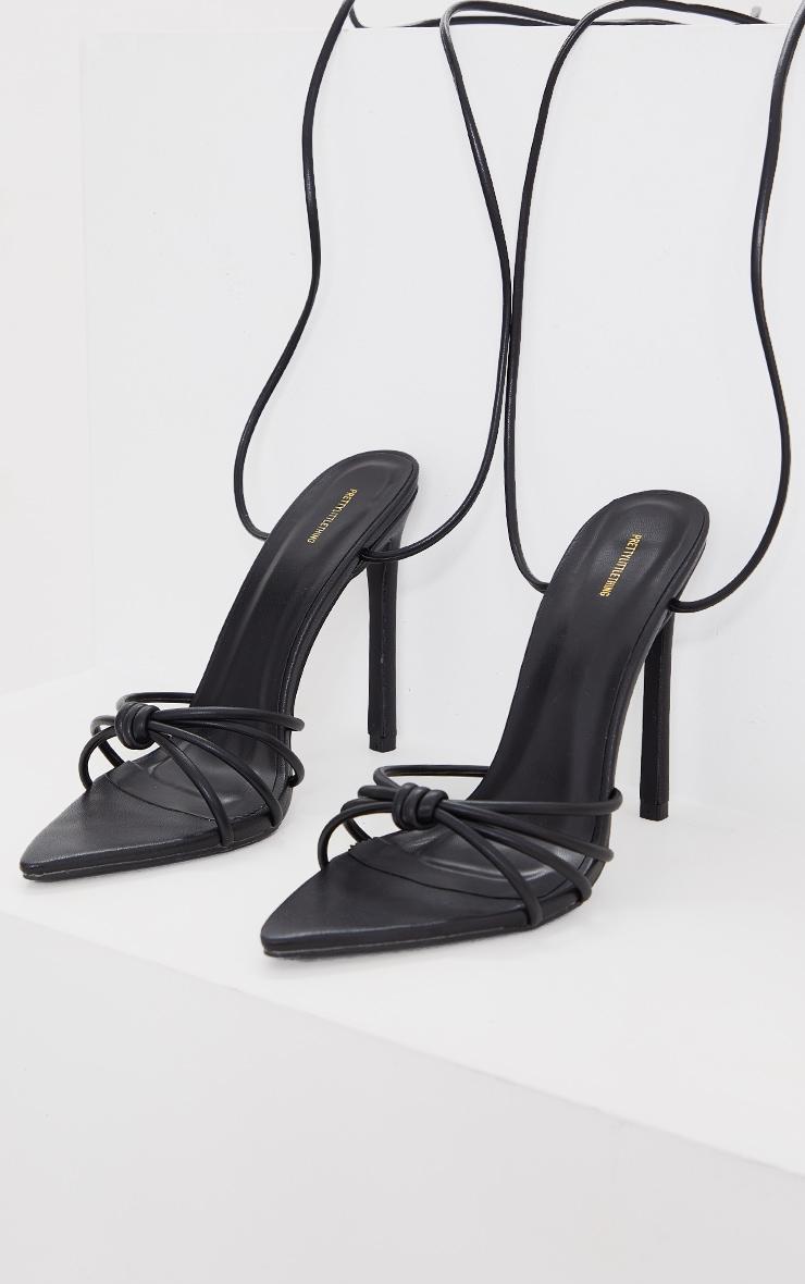 Black PU Knot Lace Up Heel Sandals 3