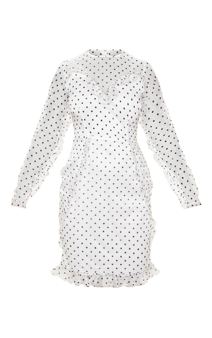 Petite White Dobby Mesh Frill Detail Long Sleeve Dress 3