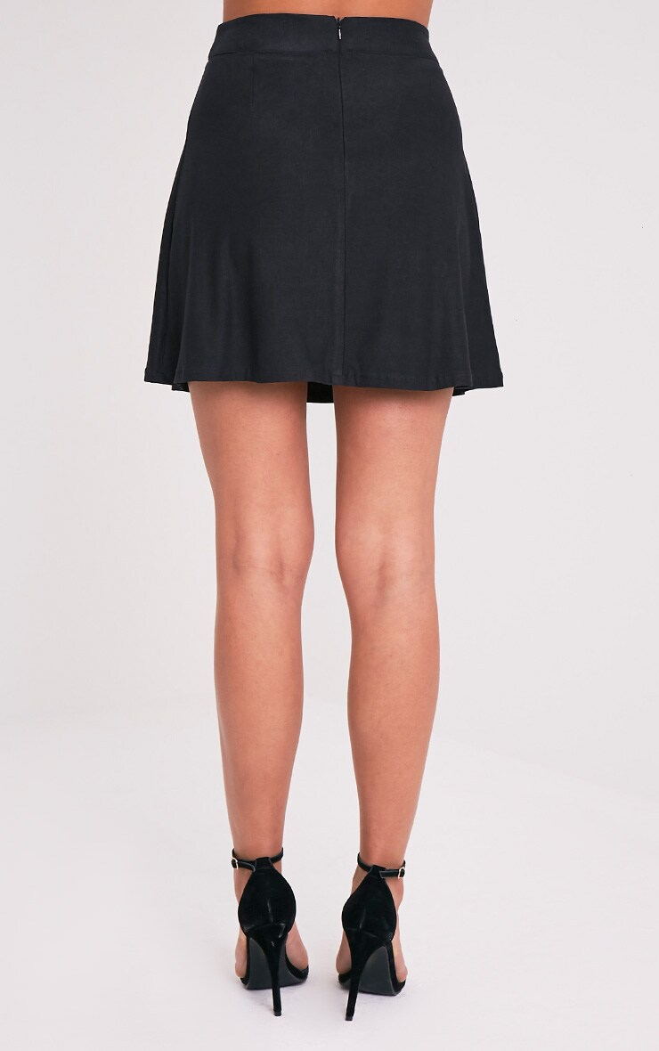 Rose Black Faux Suede A-Line Mini Skirt 5