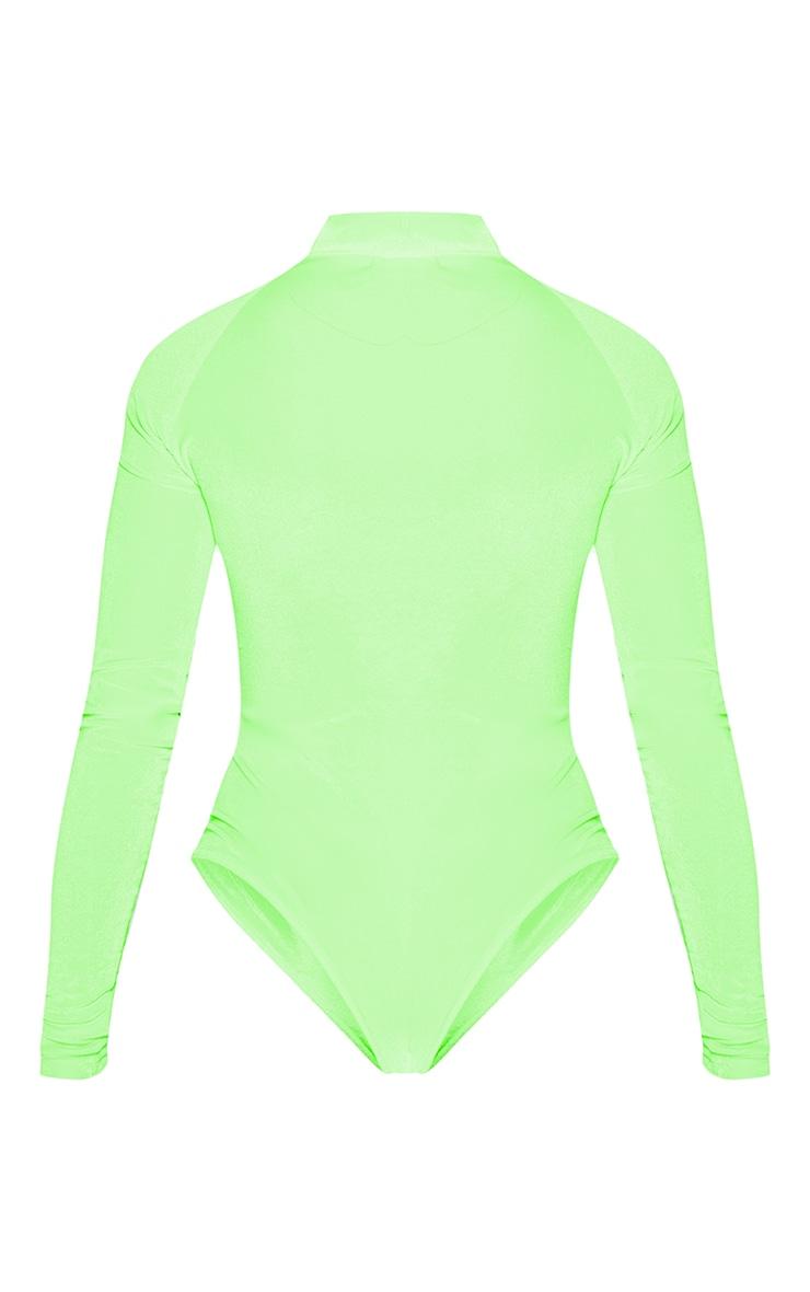 Neon Lime Velvet Zip High Neck Long Sleeve Bodysuit 4