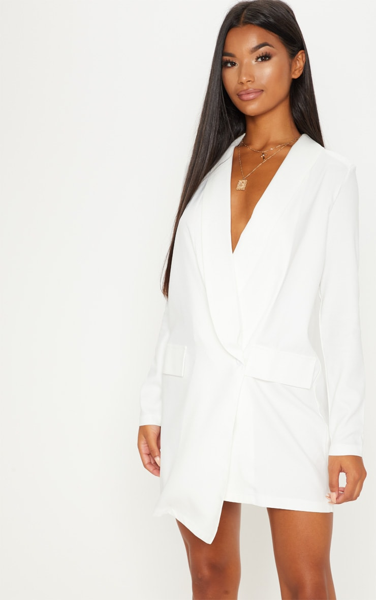 White Asymmetric Hem Oversized Blazer Dress 4