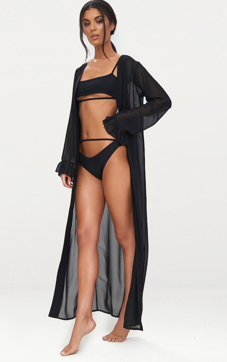 Alassia Black Frill Sleeve Kimono 4