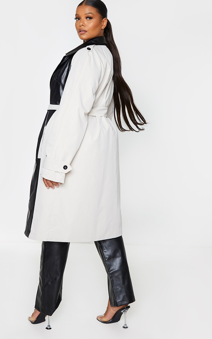 Plus Stone PU Panelled Trench Coat 2