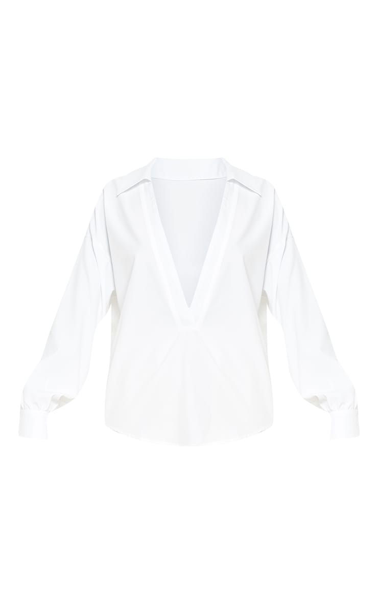 White V Plunge Blouse 3