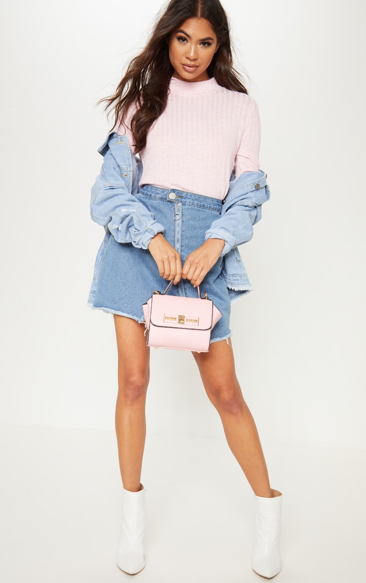 Baby Pink Long Sleeve High Neck Top 4