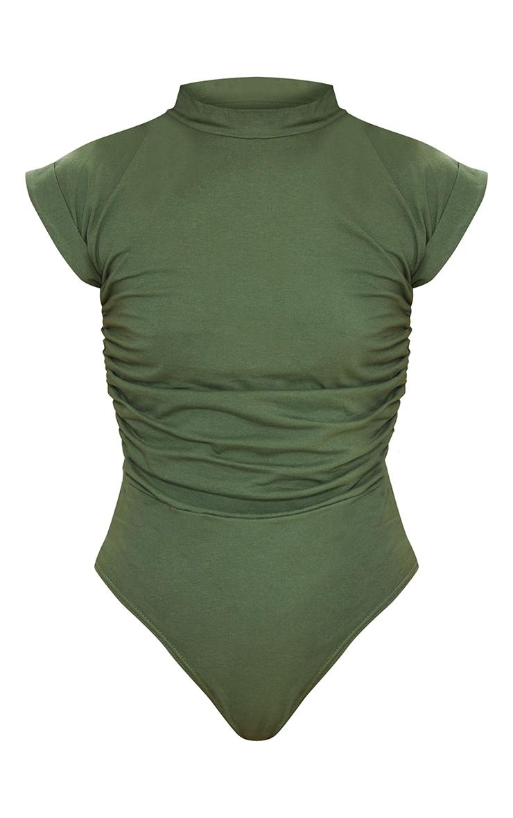 Khaki Cotton Folded Sleeve Ruched Side Bodysuit 5