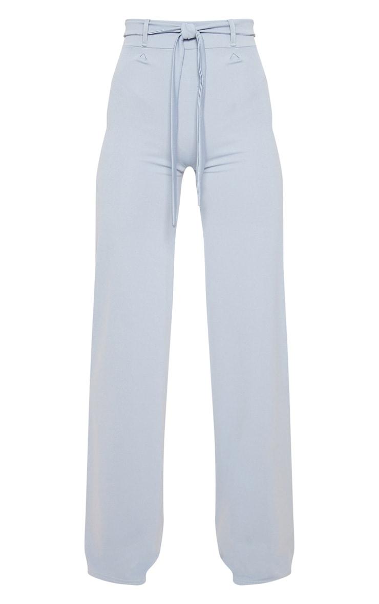 Dusty Blue Tie Waist Wide Leg Trouser 3