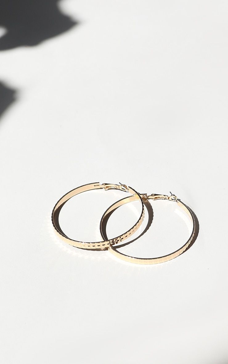 Gold Square Textured Medium Hoop Earrings 3
