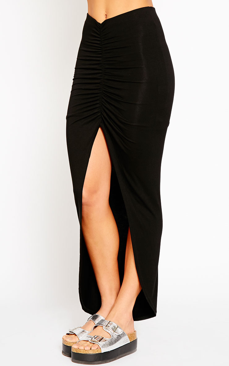 Omari Black Ruched Front Jersey Maxi Skirt 3