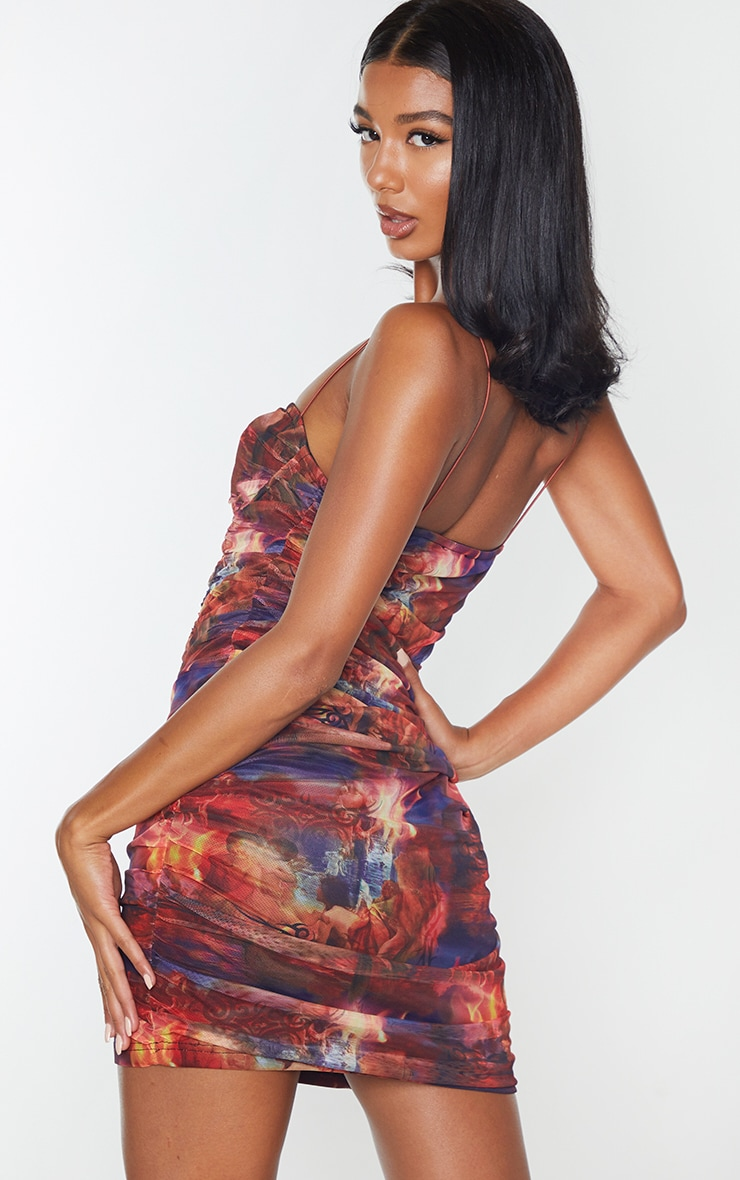 Multi Print Mesh Cup Detail Ruched Bodycon Dress 2