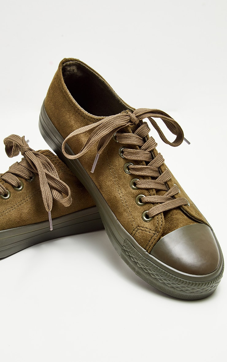 Khaki Faux Suede Lace Up Sneakers 4