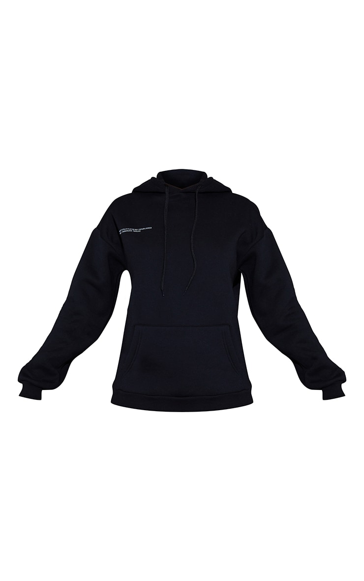 PRETTYLITTLETHING Recycled Black Est 2012 Oversized Hoodie 5