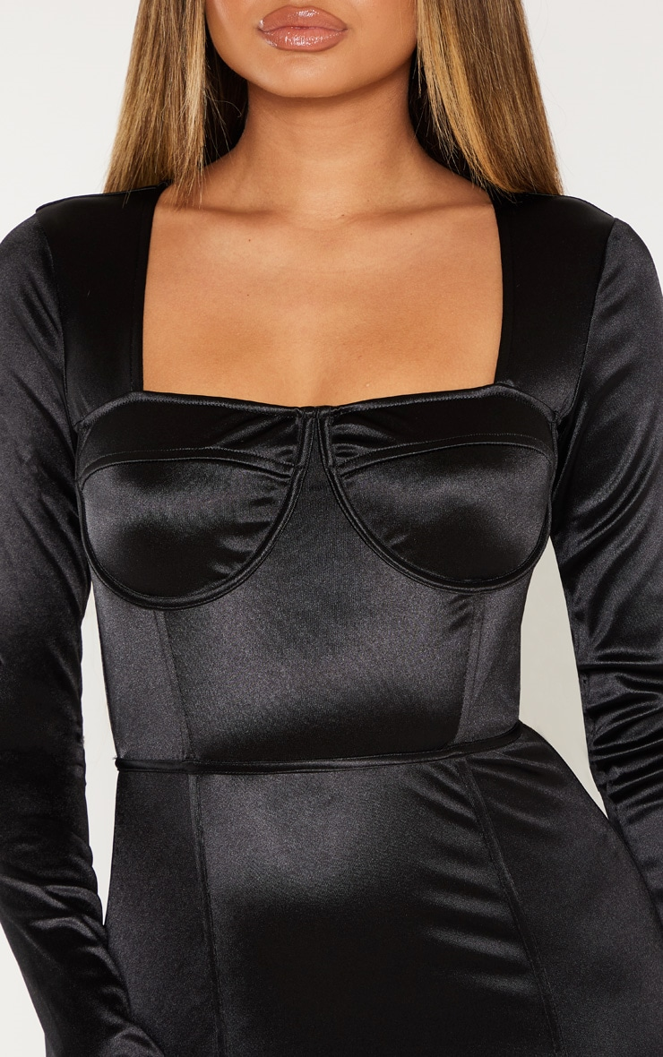 Black Satin Cup Detail Bodycon Dress 5