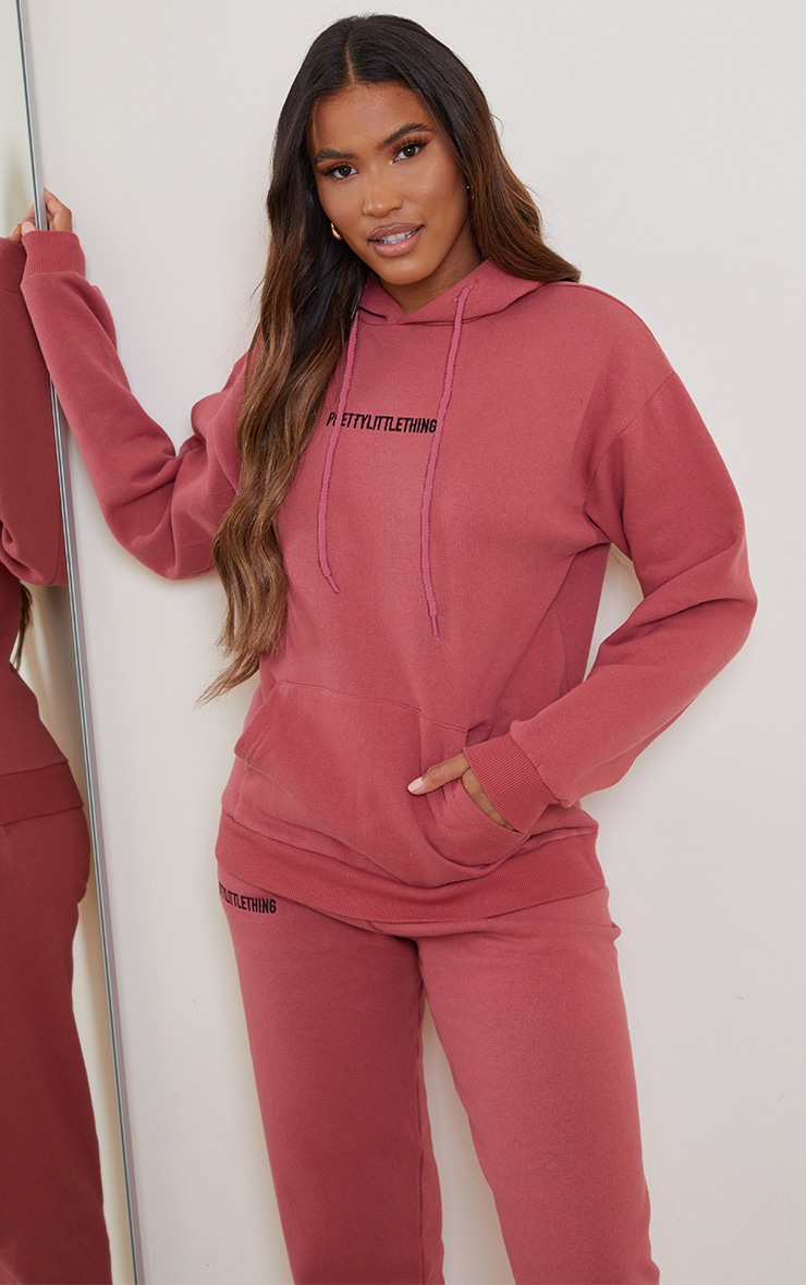 PRETTYLITTLETHING Deep Rose Embroidered Slogan Hoodie 1