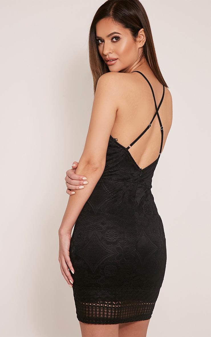 Georgia Black Lace Cross Back Bodycon Dress 1