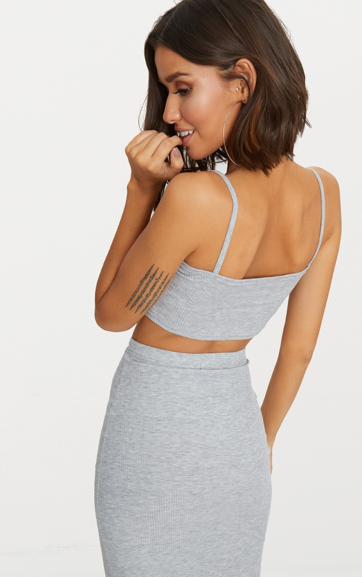 Grey Marl Rib Square Neck Button Detail Crop Top 2