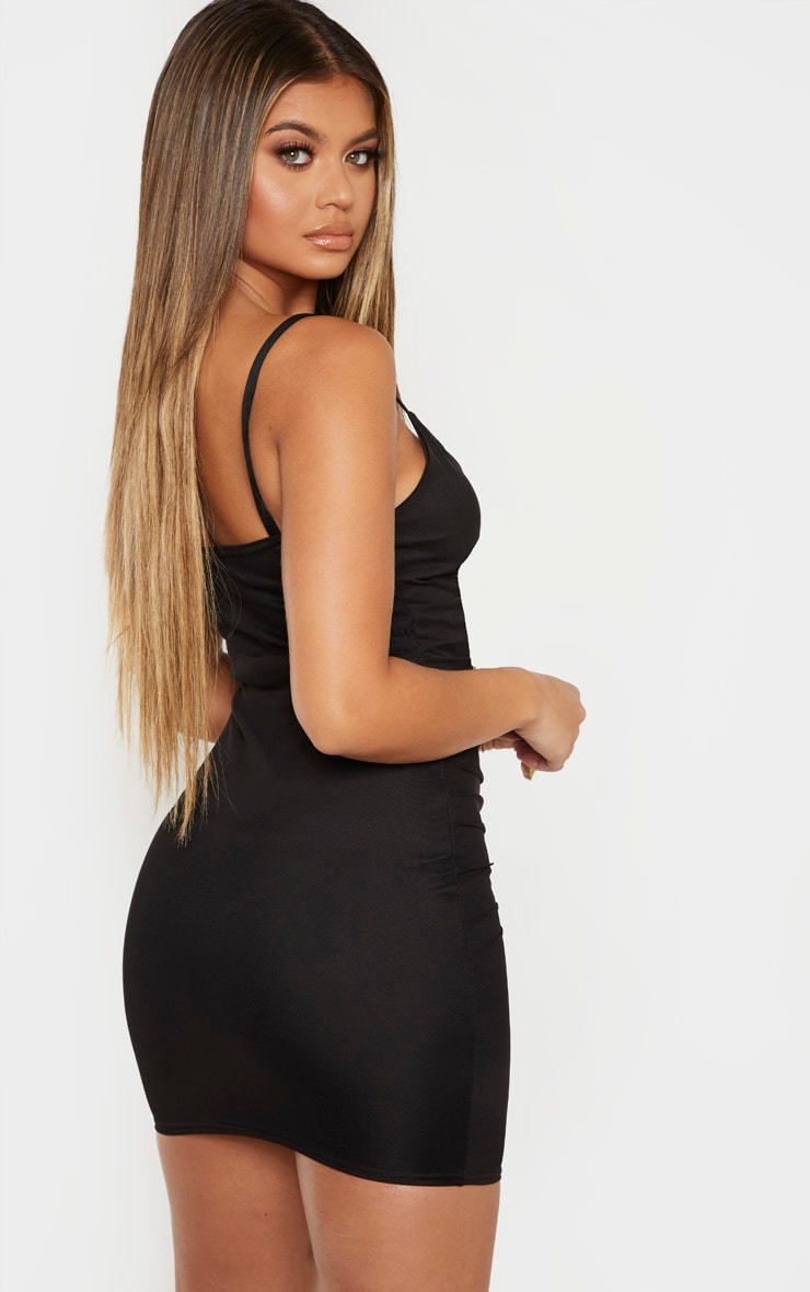 Black Strappy Mesh Ruched Front Bodycon Dress 2
