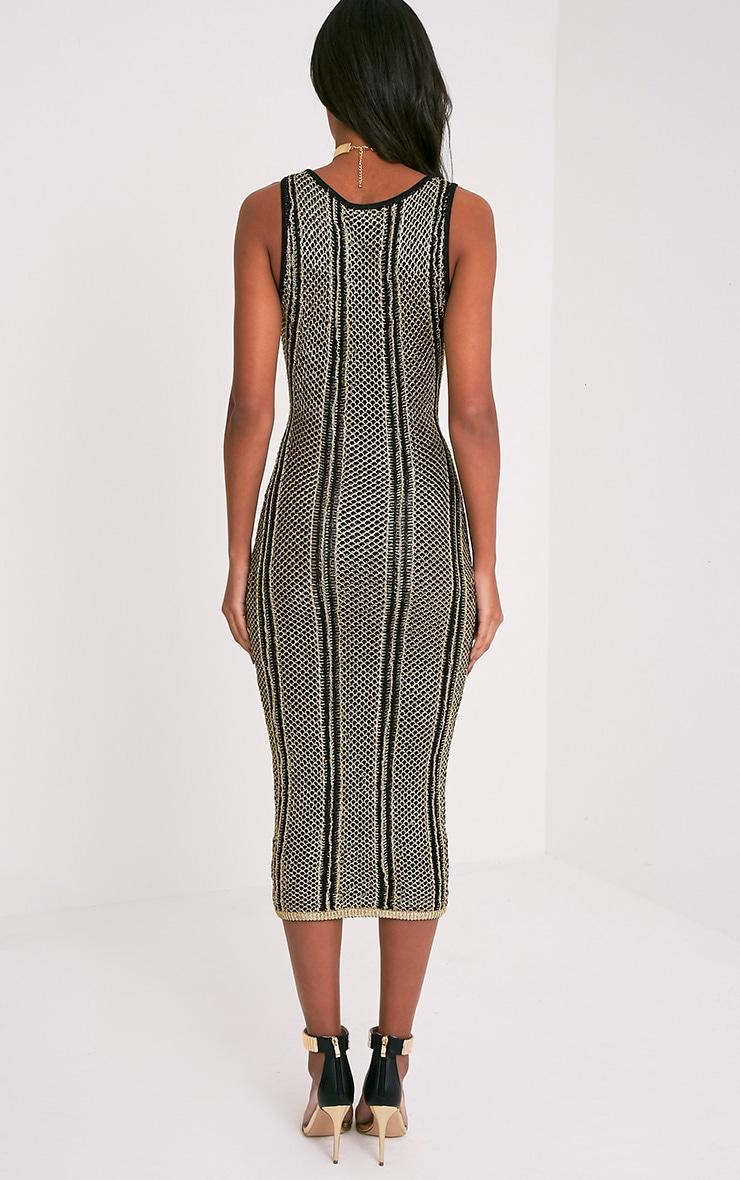 Avanya Premium robe midi noire métallisée à lacets 3
