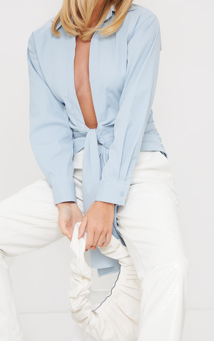 Pastel Blue Woven Ruched Tie Front Plunge Shirt 4