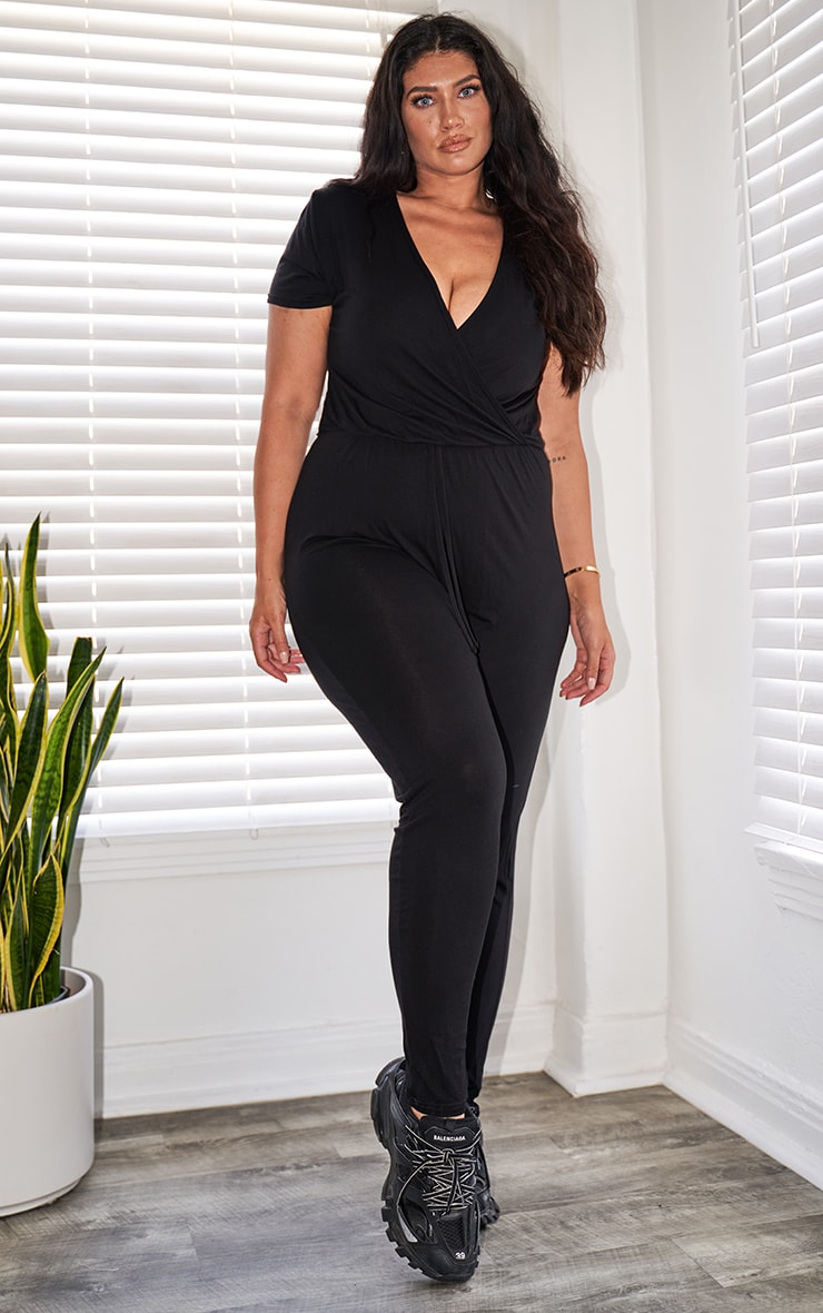 Plus Black Jersey Wrap Jumpsuit 4