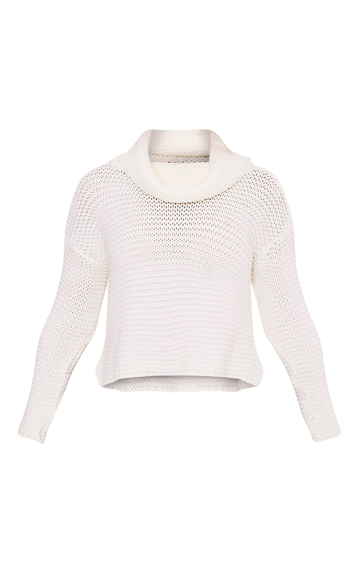 Resi Cream Roll Neck Long Sleeve Crop Jumper 4
