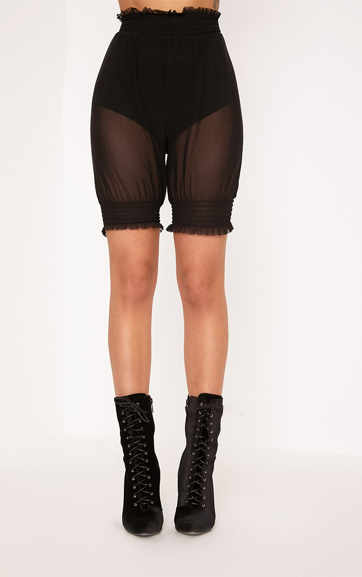 Black Sheer Frill Trim Cycle Shorts 2