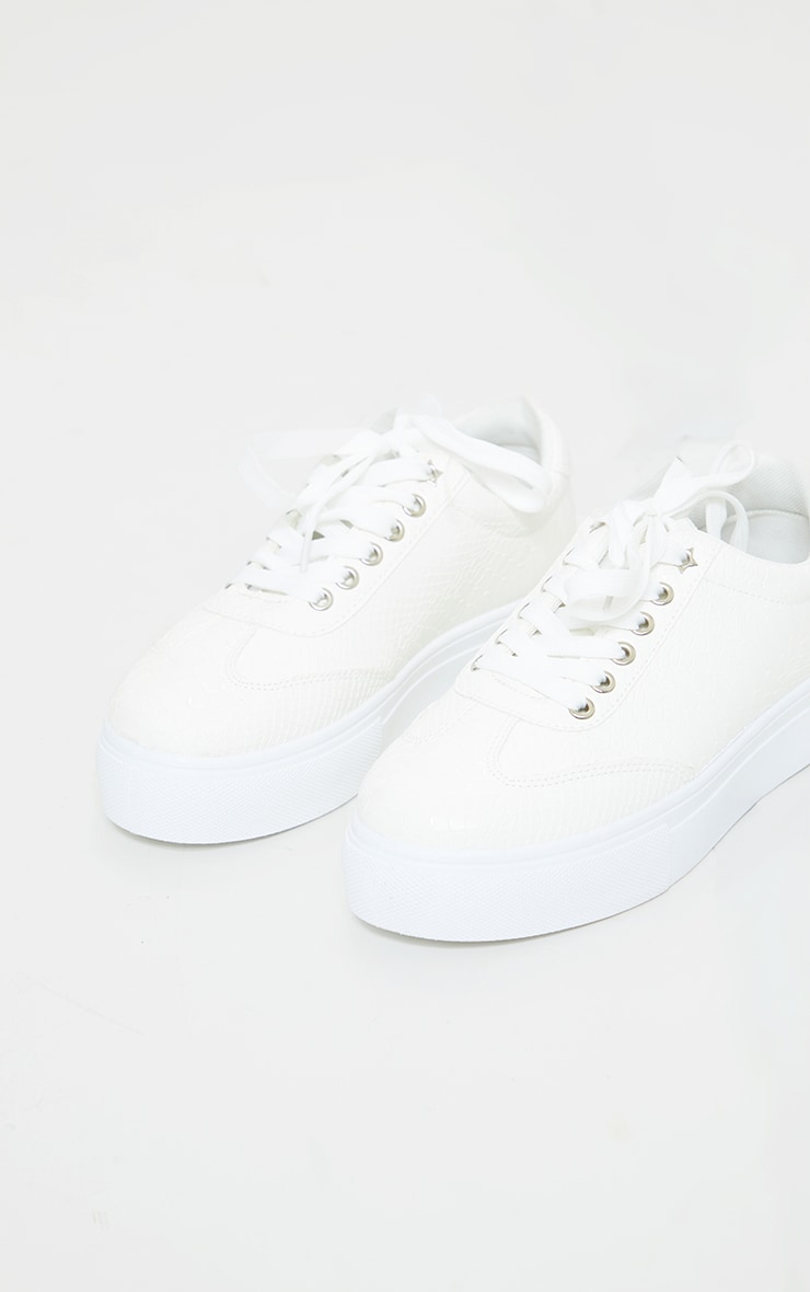 White Croc Lace Up Flatform Trainers 3