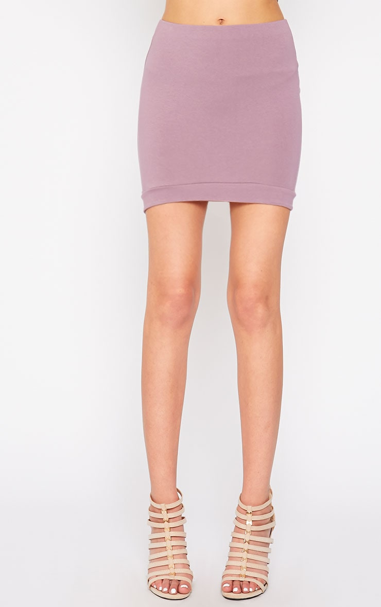 Phoenix Mauve Curved Hem Mini Skirt 2