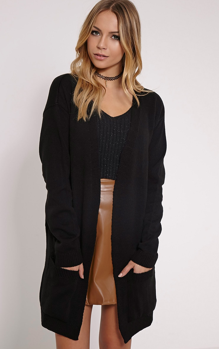 Leanne Black Fine Knit Cardigan 1