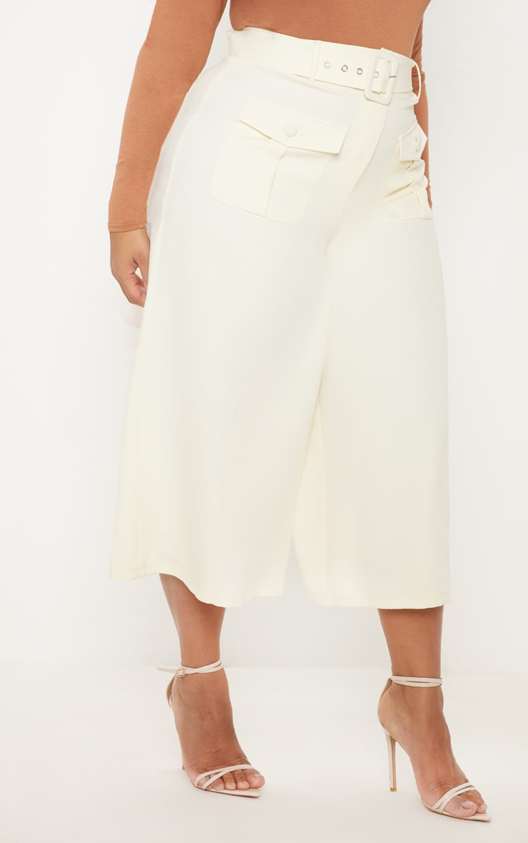 Plus Cream Pocket Detail Belted Culottes 2