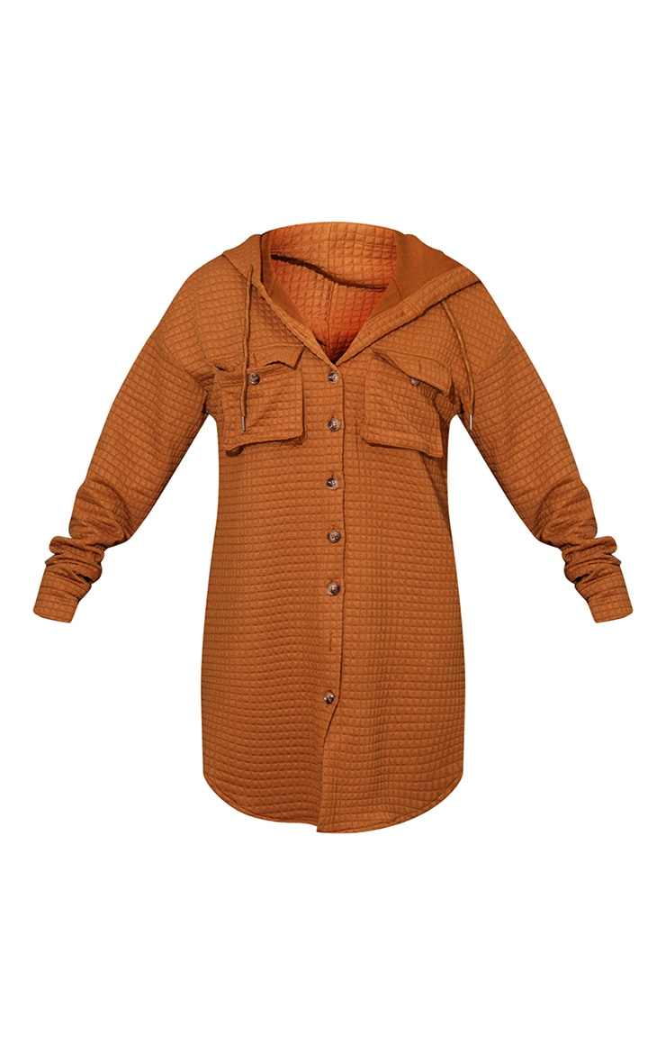 Camel Waffle Button Up Hooded Sweat Dress 5