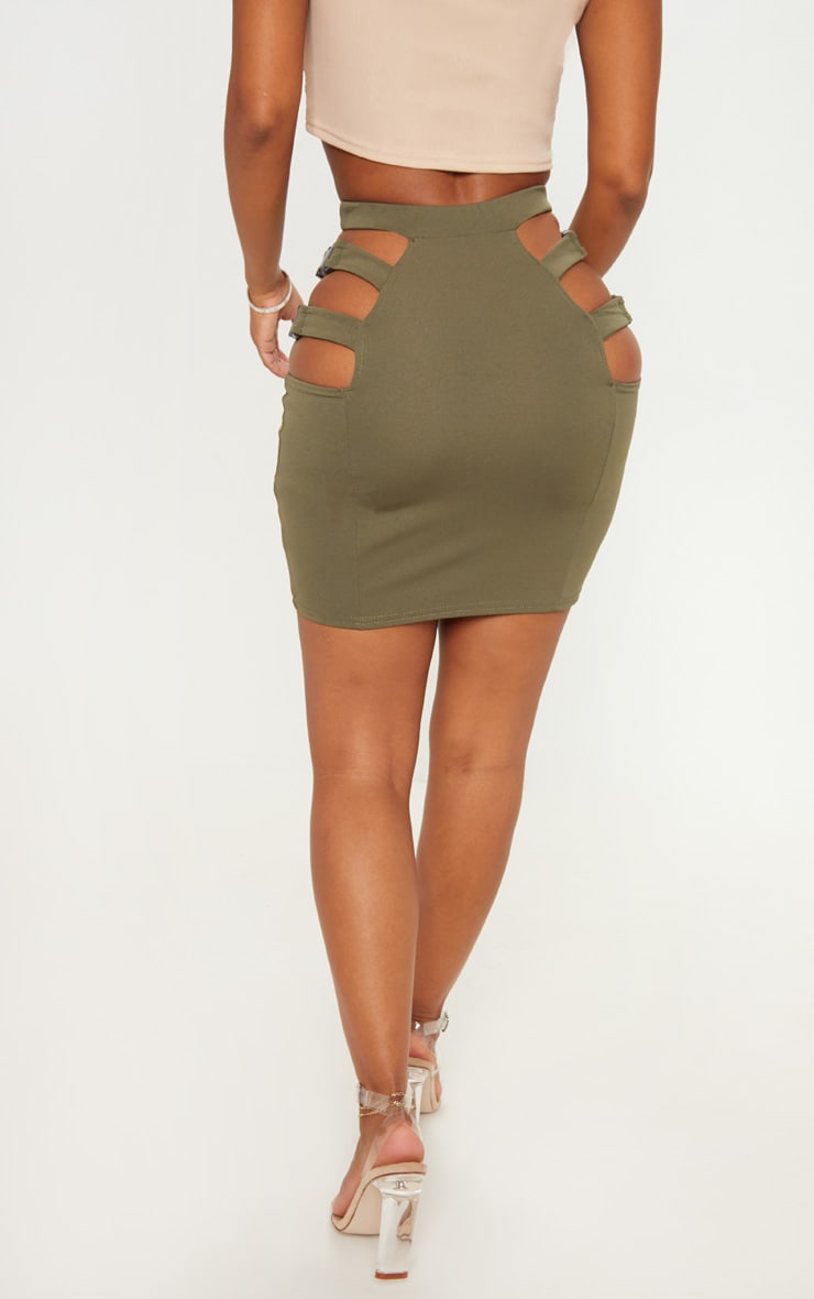 Shape Khaki Extreme Cut Out Buckle Detail Bodycon Skirt 3