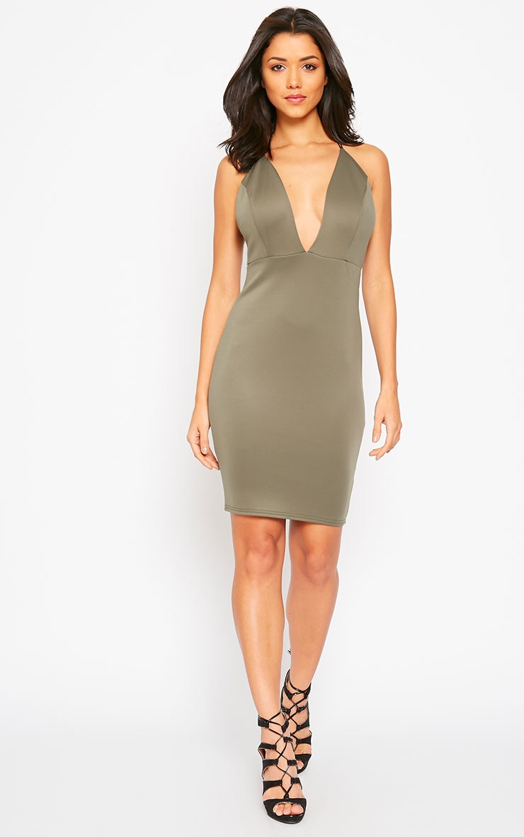 Gisele Khaki Plunge Dress 3