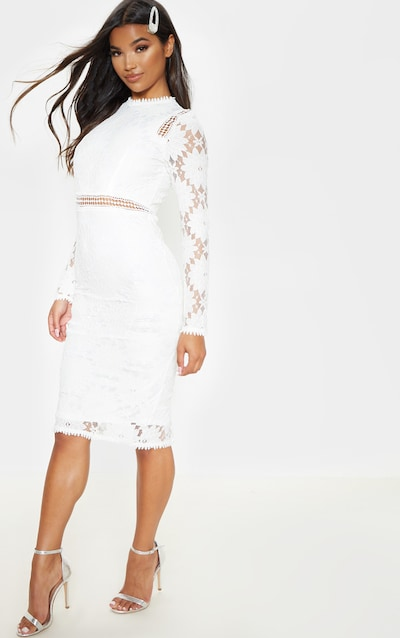 Caris White Long Sleeve Lace Bodycon Dress