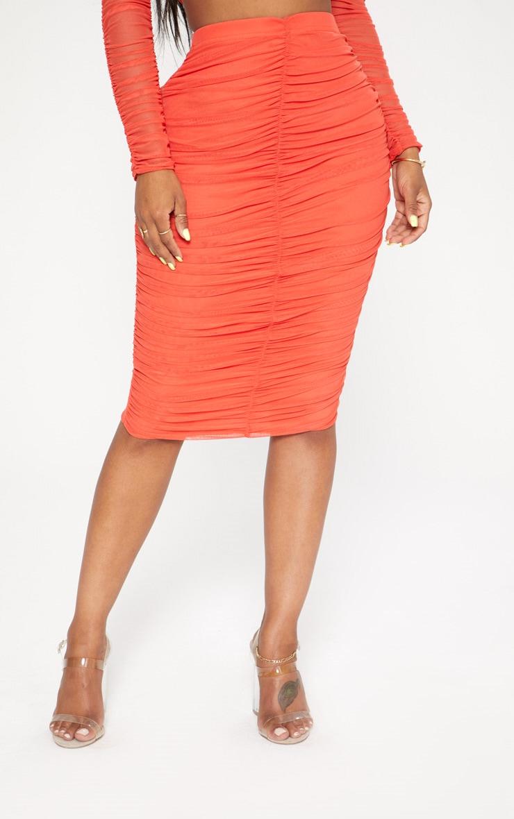 Shape Orange Mesh Ruched Midi Skirt 2