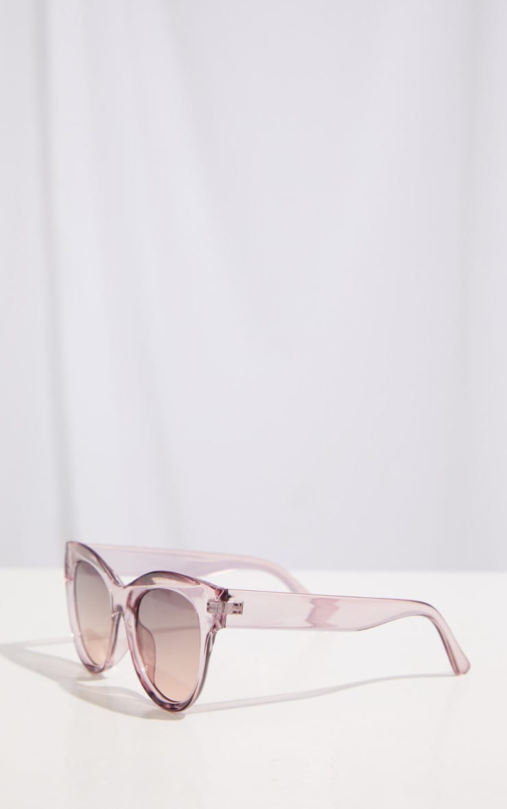 Dark Pink Clear Cat Eye Sunglasses 4