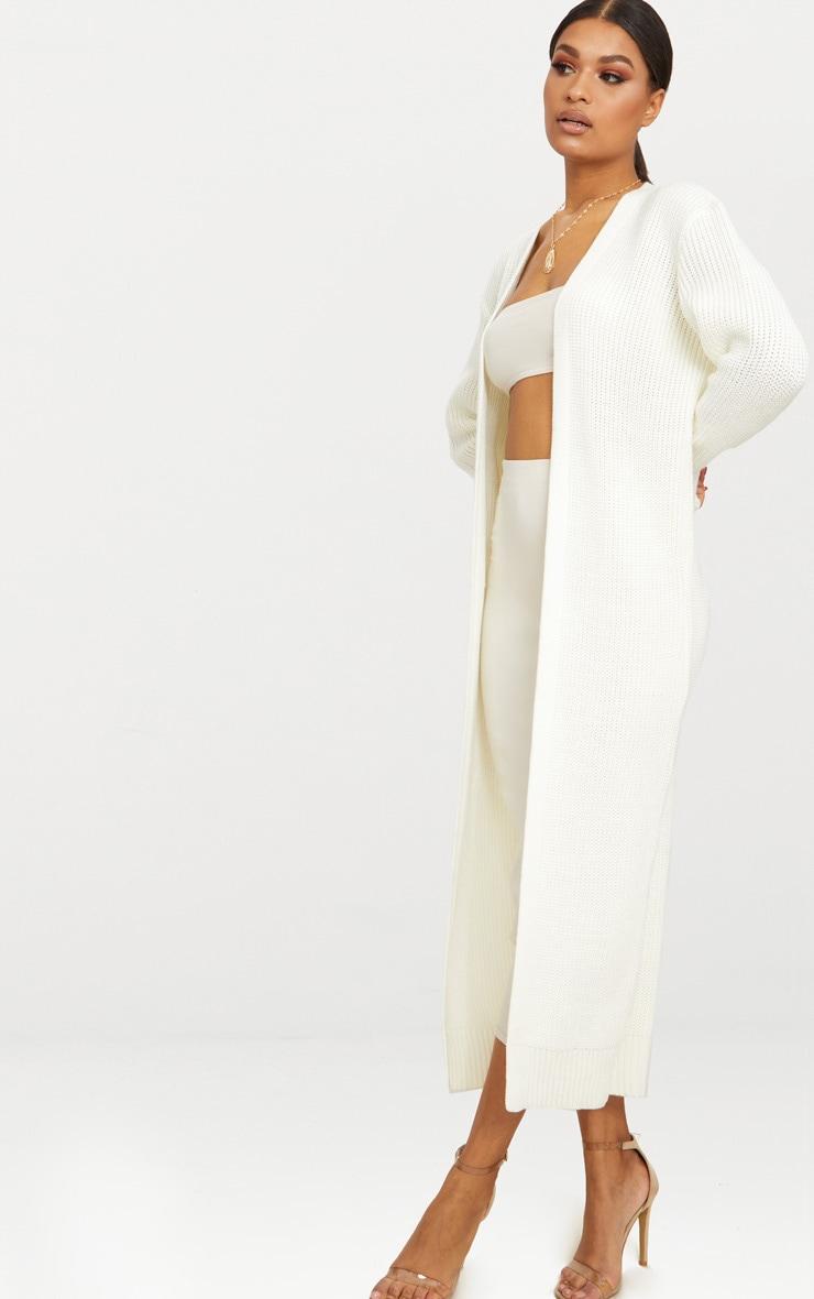 Cardigan long blanc crème 5